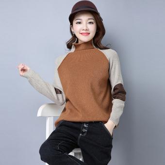 Harga baru Patch yang setengah tinggi kerah pullover tipis sweater LOOESN merajut kemeja (Setengah tinggi kerah khaki) Bandingkan Simpan