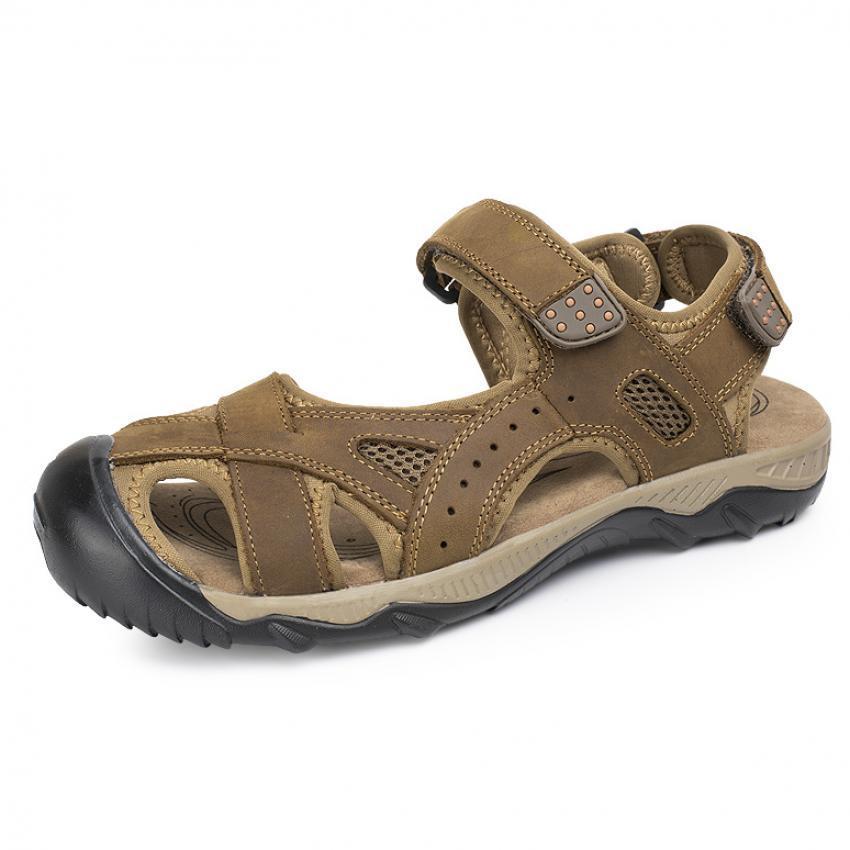 ... PATHFINDER Pria datar Kulit Sporty Velcro Slipper Sandal HikingSepatu ( Brown) ...