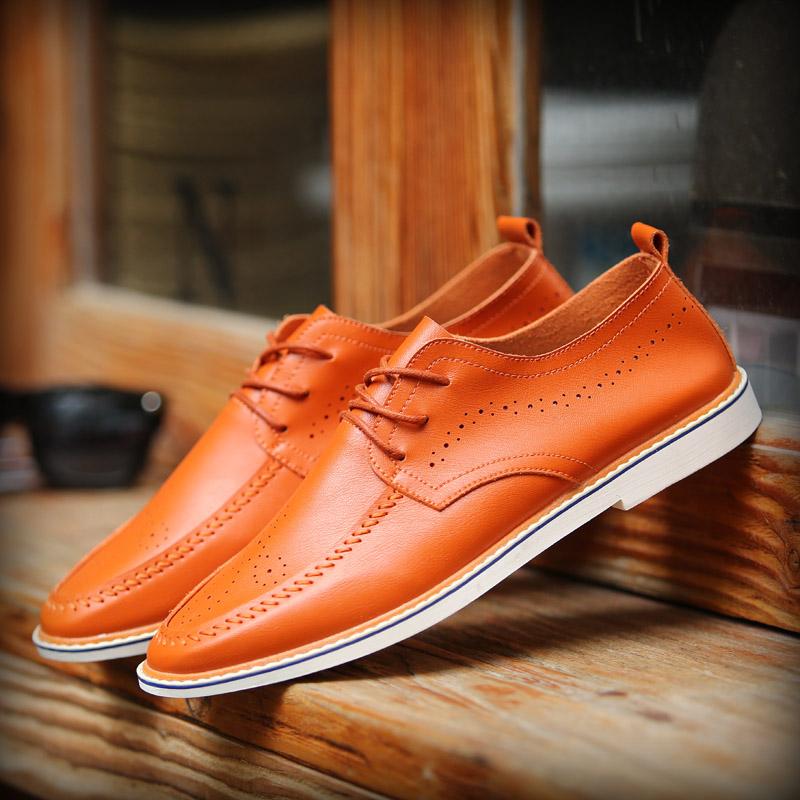 Peas pria bernapas sepatu kulit musim gugur sepatu pria (Oranye)