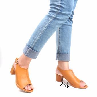 Pluvia - Sepatu High Heels Hak Tinggi Tahu Wanita Peep Toe Slingback KKS09 - Camel