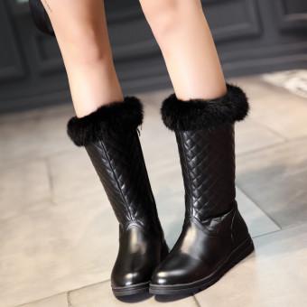 Perempuan baru hangat beludru tebal sepatu bulu sepatu bot datar dengan sepatu bot musim dingin (