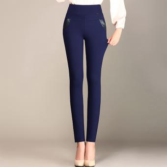 Gambar Perempuan pakaian luar yard besar pinggang tinggi celana panjang celana bottoming celana (Biru tua