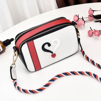 Persegi kecil busana pita tas memukul warna tas tas kamera tas kamera (Putih)