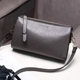 Persegi kecil Jianyue kulit lembut tas JRCVSW pola tas selempang tas wanita (Abu-abu)