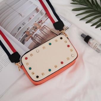 ... Persegi kecil Korea Fashion Style baru paku keling warna tas Messenger bag tas wanita Putih