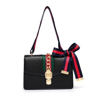 Persegi kecil Korea Fashion Style tas wanita bahu tas wanita tas (Hitam)
