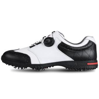 PGM Golf Sepatu Pria Sepatu Tahan Air acara kuku kulit sapipusingan tali (Hitam dan Putih)