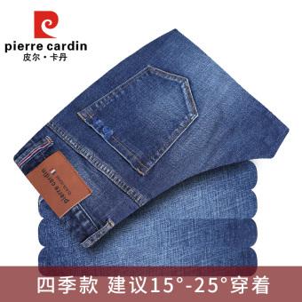 Belanja Terbaik Pierre Cardin Jianyue gelap laki-laki celana Slim bagian tebal celana jeans (