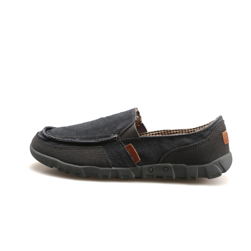 PINSV Kanvas Datar Kasual Her The Man Loafers Was Wearing (Hitam)