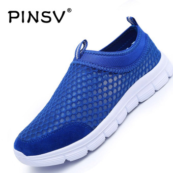 PINSV Men Fashion Potong Rendah Hardly Breathe Jala Her (Biru)