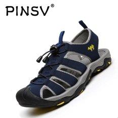 PINSV Pria Outdoor Sporty Sandal Sandal Sepatu (Navy Blue)