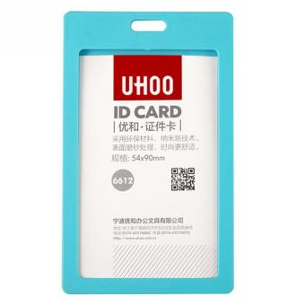 Plastic ID Card Holder Card Case Cover Neck Strap Lanyard Badge ForName Tag Light Blue