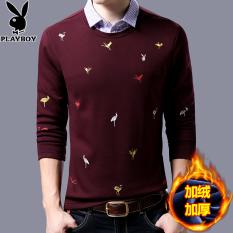 PLAYBOY ditambah beludru leher bulat musim dingin pria sweater sweater baju kemeja (Merah)