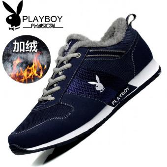DISKON PLAYBOY ditambah beludru musim dingin pria sepatu sepatu pria (CX39528M biru tua ditambah rambut) MURAH