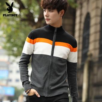 Harga baru PLAYBOY Gaya Korea baru musim semi dan musim gugur pria sweater rajutan kemeja (Tampan abu-abu gelap) Perbandingan harga