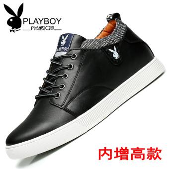 PLAYBOY Inggris kulit dalam yang lebih tinggi sepatu pria sepatu sepatu pria lift sepatu (Hitam (peningkatan dalam))