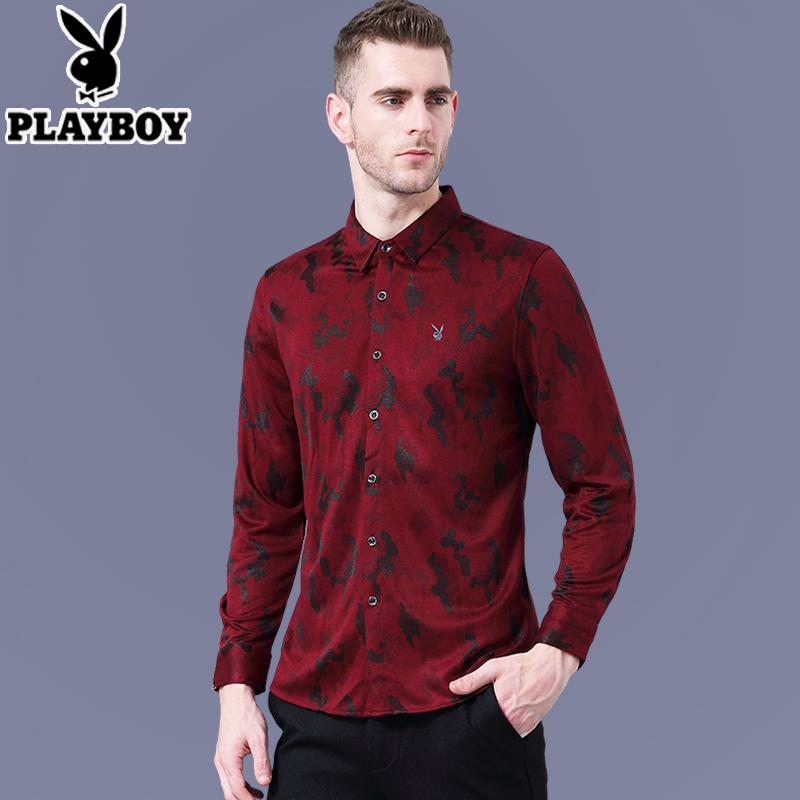 Flash Sale PLAYBOY kasual mercerized pria kapas musim gugur bottoming kemeja lengan panjang kemeja (Merah