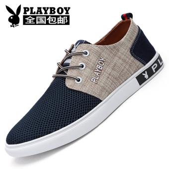 Harga PLAYBOY Korea Fashion Style bernapas jala pria renda sepatu olahraga  sepatu pria (Biru tua) 129a61f747