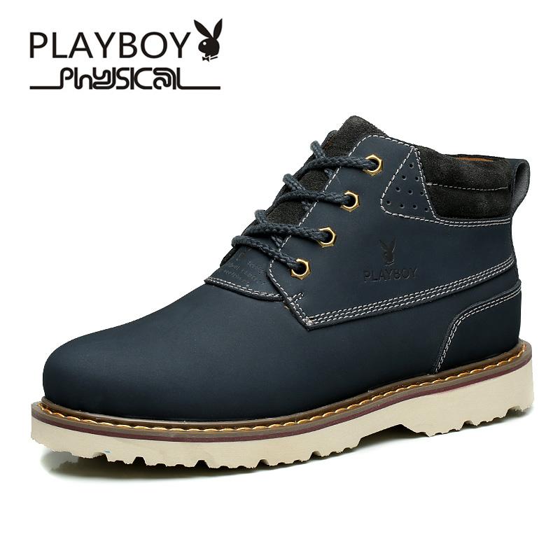 Flash Sale PLAYBOY Korea Fashion Style Kulit Pria Sepatu Boots Sepatu Pria  ( Biru Tua  dd6457a25e