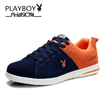 PLAYBOY Korea Fashion Style Siswa Sepatu Sepatu Pria (Biru Tua/Oranye)