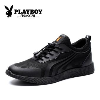 PLAYBOY Korea Fashion Style Tambah Beludru Pria Kebugaran Kasual Sepatu Sepatu Pria (Hitam)