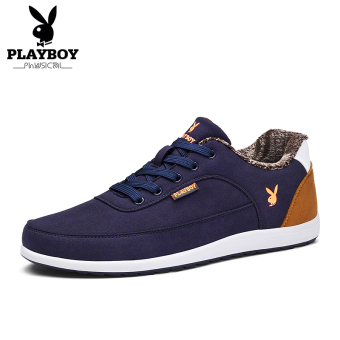PLAYBOY Korea Fashion Style Tambah Beludru Sepatu Musim Dingin Yang Hangat Sepatu Pria (Tambah Beludru Model Biru Tua)