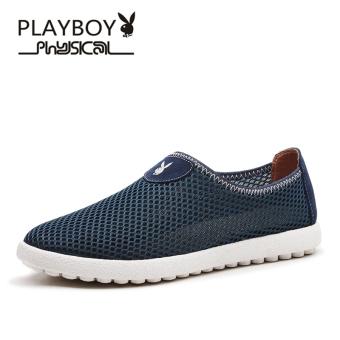 Harga PLAYBOY Korea jala sepatu olahraga sepatu pria (Hyun bergerak DA73019  biru tua) 28ebe146bc