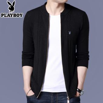 PLAYBOY Korea laki-laki merajut Slim cardigan sweater (Hitam)