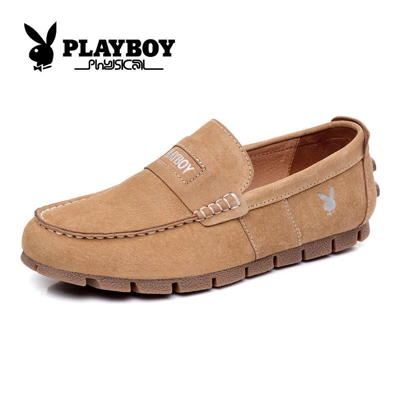 PLAYBOY kulit musim gugur baru, sepatu pria untuk membantu rendah (CX37067 unta)