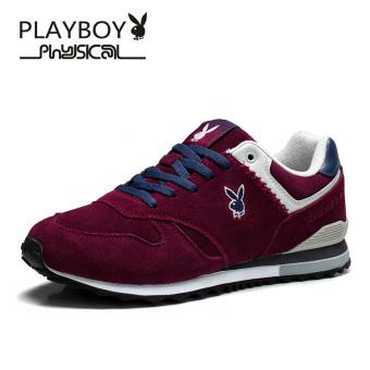 PLAYBOY Kulit Sapi Piring Kulit Sepatu Sepatu Cortez Nike Sepatu Pria (Berwarna Merah Keunguan)