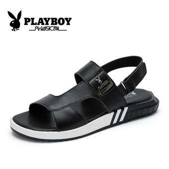 harga PLAYBOY laki-laki musim panas bernapas tombol ajaib sepatu, sandal dan sandal sandal (Model laki-laki + Hitam) Lazada.co.id