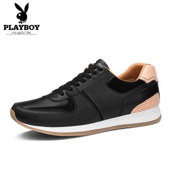 Harga PLAYBOY Modis Kulit Siswa Laki-laki Sepatu Running Sepatu Pria (Hitam) f5406107c5