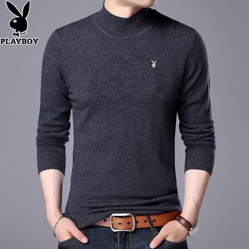 Flash Sale PLAYBOY musim dingin setengah kerah tinggi pria sweater warna solid sweater wol (Abu