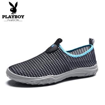 Beli PLAYBOY pria menginjakkan kaki jala tergelincir sepatu sandal luar ruangan (Hitam) Online