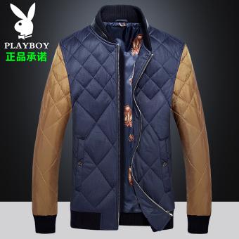 Beli PLAYBOY Pria Musim Dingin Ukuran Besar Bisbol Pakaian Tahan Angin Baju Katun (Biru Tua Warna) Murah