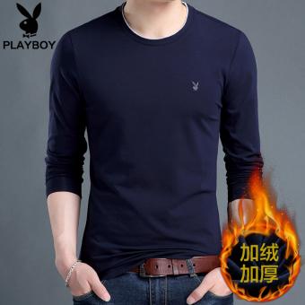 PLAYBOY Tambah Beludru Musim Dingin Lebih Tebal Kemeja Leher Bulat T-shirt (Biru)
