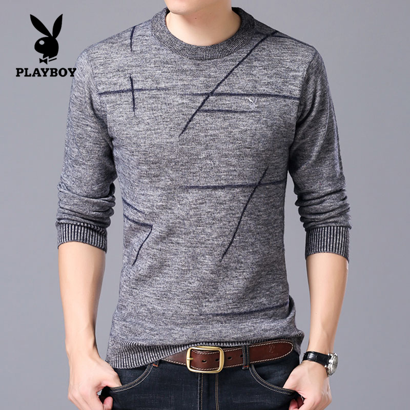 Flash Sale PLAYBOY wol murni pria sweater baru sweater sweater musim dingin leher bulat sweater (