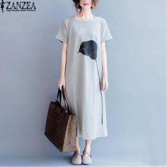 harga Plus Size ZANZEA Womens O-Neck Short Sleeve Floral Print Side Split Vestido Ladies Kaftan Party Sundress Summer Beach Midi Dress (Grey) - intl Lazada.co.id