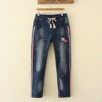 Plwiwtcde baru denim celana panjang (Denim biru Patch)