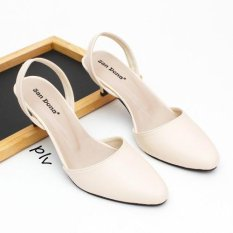 Pointed Toe Slingback Kitten Heels 5ZR - Cream