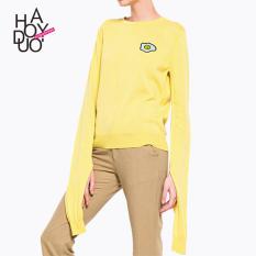 Pola Haoduoyi2017 Manis Musim Gugur Baru Leher Bulat Pullover Sweter (Kuning )
