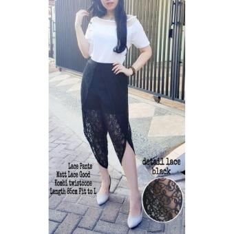 Popuri Fashion Celana Lisandra - Hitam - Pants Lace Kombi Twiscone Celana Pendek Wanita Celana Wanita