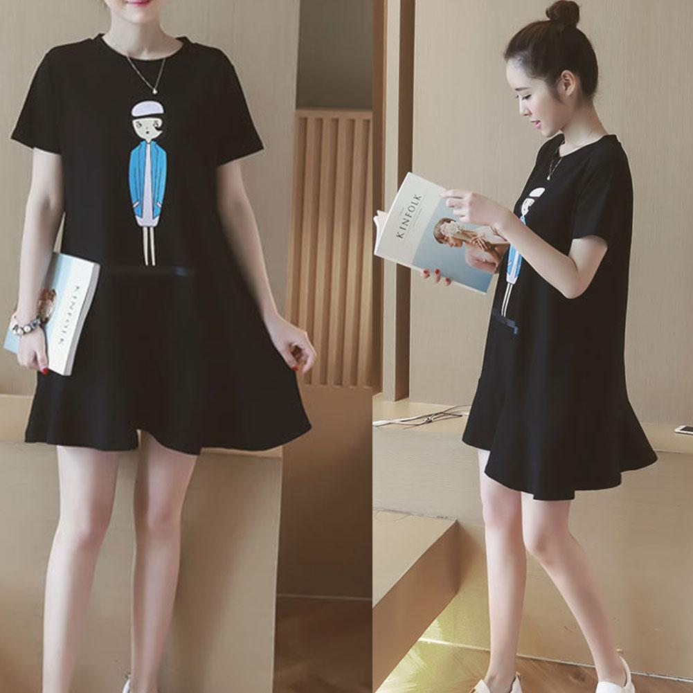 Pregnant Women Casual Short Sleeve Summer Nursing Clothes Maternity Dress M