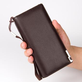Pria asli kulit sapi dompet panjang tas Zipper Youth koplingmultifungsi Male tas ponsel (coklat)