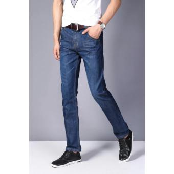 Gambar Pria kasual lurus celana panjang pria muda celana jeans pria (Biru)