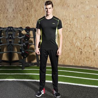 Pria Kebugaran pakaian joging gym legging pakaian kebugaran pakaian basket olahraga (18A, hijau dan hitam dan celana panjang dua set)