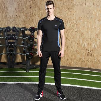 Pria Kebugaran pakaian joging gym legging pakaian kebugaran pakaian basket olahraga (18B biru-hitam celana panjang dua set)