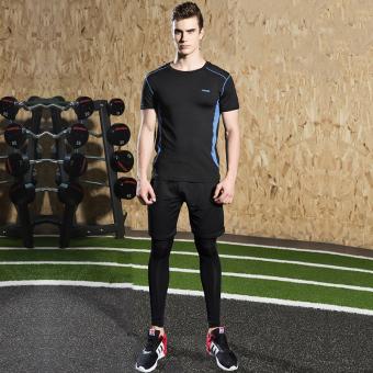Pria Kebugaran pakaian joging gym legging pakaian kebugaran pakaian basket olahraga (18B biru hitam tiga potong)