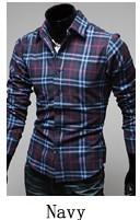 Jual Pria Korea Fashion Style Pria Slim Atasan Lengan Panjang Kotak Kotak Kemeja Biru Tua Kotak