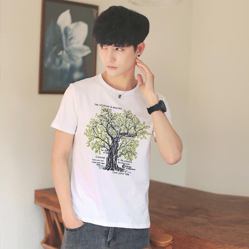 Cheap online Pria Korea lengan pendek mahasiswa longgar t-shirt (Putih)